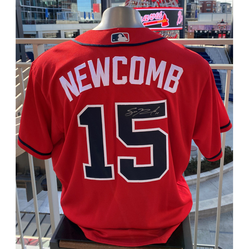Photo of Sean Newcomb Autographed and Game-Used Los Bravos Jersey