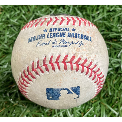 Photo of Game-Used Baseball: Isiah Kiner-Falefa single, David Dahl Ground Out, Joey Gallo RBI Single and Jose Trevino Single off Ryan Yarbrough - Top 1 - April 13, 2021 v TEX