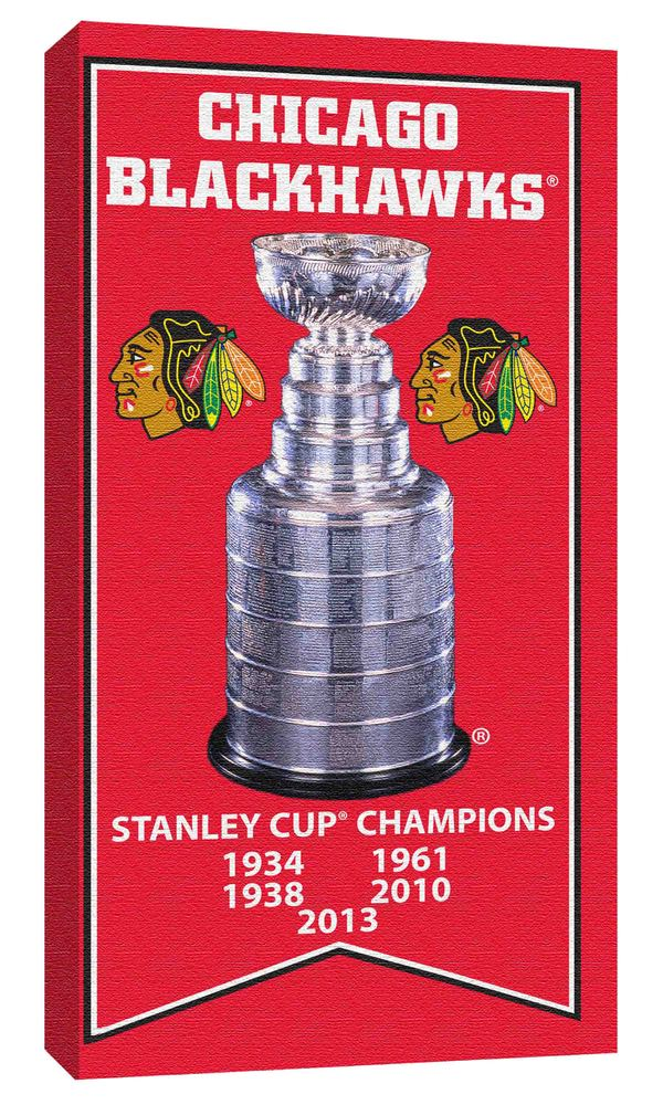 Chicago Blackhawks Stanley Cup Banner Unsigned 7x15 Canvas with Cup Photo