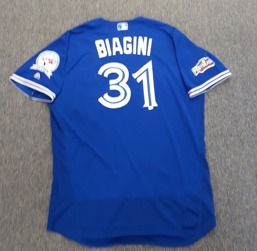 Photo of Authenticated Game Used Postseason Jersey - #31 Joe Biagini (October 4 and 9, 2016: Wild Card Game and ALDS Game 3). Biagini went 0.2 IP with 2 Ks and 0 ER in the Wild Card Game and 1.1 IP with 0 ER and 1 K in ALDS Game 3. Size 52.