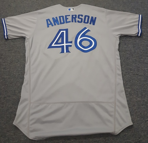 Authenticated Game Used Jersey - #46 Brett Anderson (September 3, 2017: 6 IP with 7 Hits, 3 ER, and 3 Ks). Size 48.