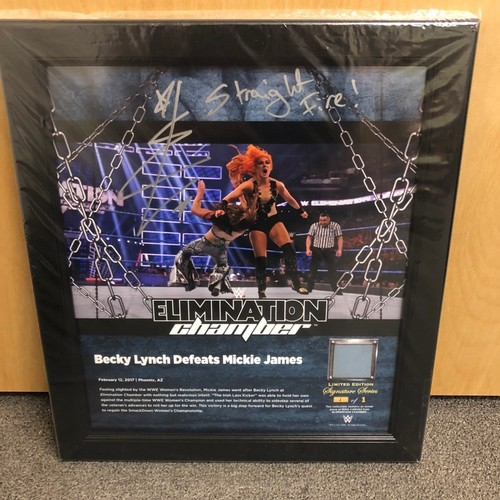 Becky Lynch SIGNED Elimination Chamber 2017 Signature Series Ring Canvas Plaque (#1 of 1)