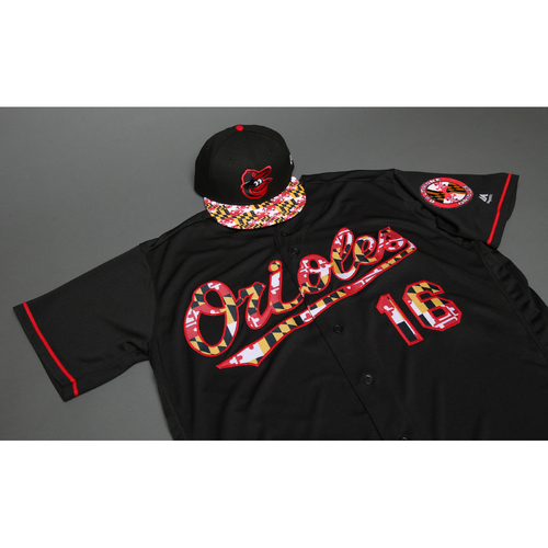 Photo of Chris Davis Autographed, Game-Worn Maryland Flag Jersey & Cap