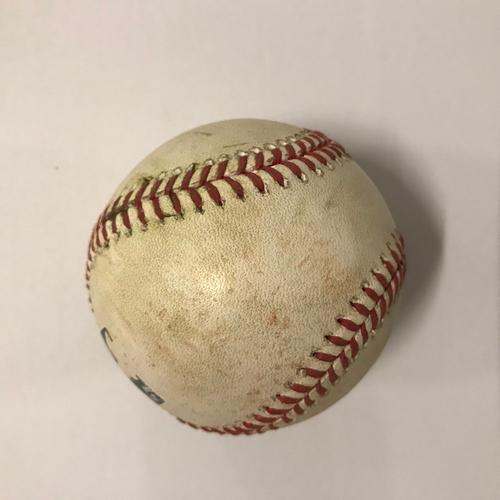 Photo of Nick Markakis Game Used Hit Single Ball - May 20, 2018