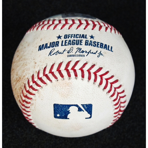 Photo of Game Used Baseball: Pitcher: Roberto Osuna, Batters: Denard Span (Single), Kyle Seager (Foul) - 8-21-2018  vs. Houston Astros