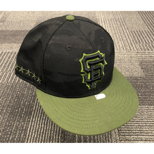 Photo of 2018 Game-Used Memorial Day Cap worn by #10 Evan Longoria on 5/26 & 5/27 @ Chicago Cubs & 5/28 @ Colorado Rockies - Size 7 1/8