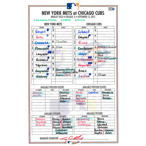 Game Used Lineup Card - Tomas Nido MLB Debut; Rosario Goes 3-4, 2 R; Smith Hits 6th Career HR - Mets vs. Cubs - 9/13/17