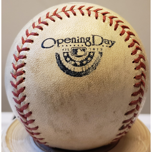 Photo of 2013 Opening Day - San Francisco Giants at Los Angeles Dodgers: Game-Used Baseball - Batter: Buster Posey, Pitcher: Clayton Kershaw - Top of 1, Fouled in the Dirt - 4/1/13