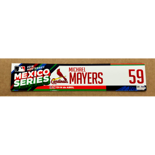 Photo of 2019 Mexico Series - Game Used Locker Tag -Michael Mayers -  St. Louis Cardinals