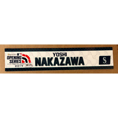 Photo of 2019 Japan Opening Day Series - Game Used Locker Tag - Yoshi Nakazawa -  Seattle Mariners