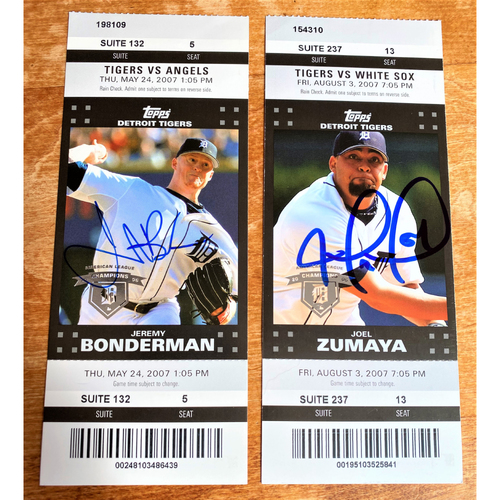 Photo of Jeremy Bonderman and Joel Zumaya Autographed Detroit Tigers 2007 Suite Ticket Collection (NOT MLB AUTHENTICATED)