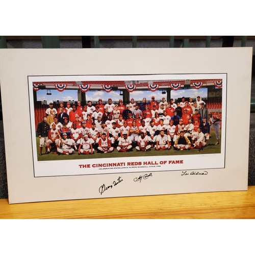 "Photo of Reds Hall of Fame Inductee: Bill Purdom Matted Print - Autographed - 17.5""x29"""