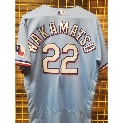 Photo of Don Wakamatsu Game-Used Baby Blue Jersey - 6/6/21