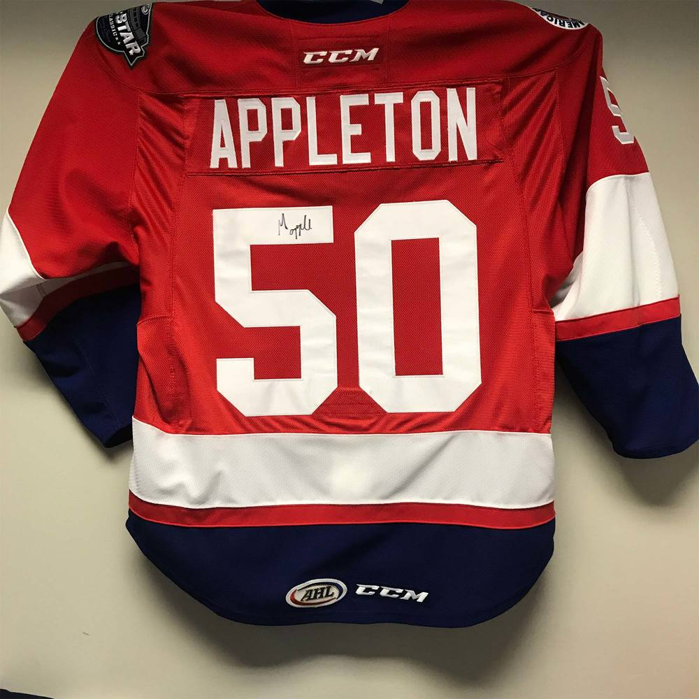 2018 AHL All-Star Challenge Warm-Up Jersey Worn and Signed by #50 Mason Appleton