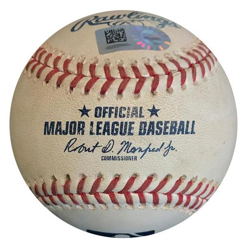 Photo of Game-Used Baseball from Pirates vs. Cubs on 8/1/18 - Hamels to Freese, Ground into Double Play - Cole Hamels Cubs Debut