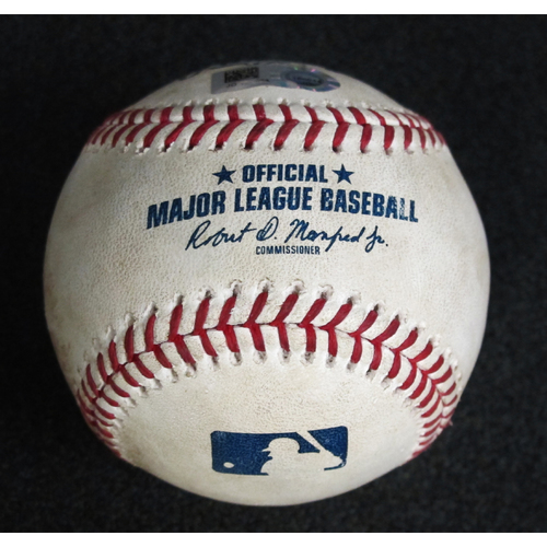 Photo of Game Used Baseball: Pitcher: Clayton Kershaw, Batter: Kyle Seager (Foul) - 8-19-2018 vs. Los Angeles Dodgers