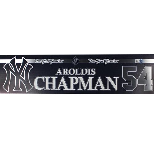 Photo of Aroldis Chapman New York Yankees 2018 Game Used #54 Locker Room Nameplate (7/4/2018)