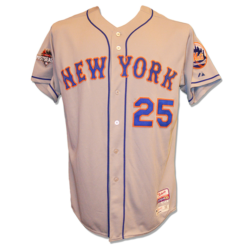 Photo of Ricky Bones #25 - Game Used 2015 Postseason Road Grey Jersey - Worn Games 1, 2 and 5 of NLDS - Mets vs. Dodgers - Worn Game 3 of NLCS - Mets vs. Cubs