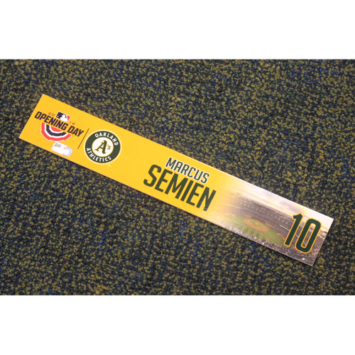 Photo of Team Issued 2019 Opening Day Locker Nameplate - Marcus Semien