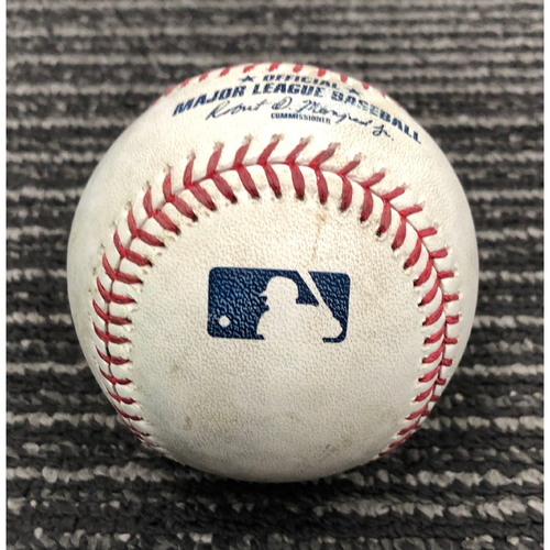 Photo of 2019 Game Used Baseball used on 7/18 vs. NYM - T-13 - Derek Holland to Michael Conforto - Single to CF