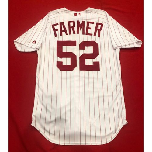 Photo of Kyle Farmer -- 1967 Throwback Jersey & Pants (Pinch-Hitter) -- Game-Used for Rockies vs. Reds on July 28, 2019 -- Jersey Size: 44 / Pants Size: 36-40-15