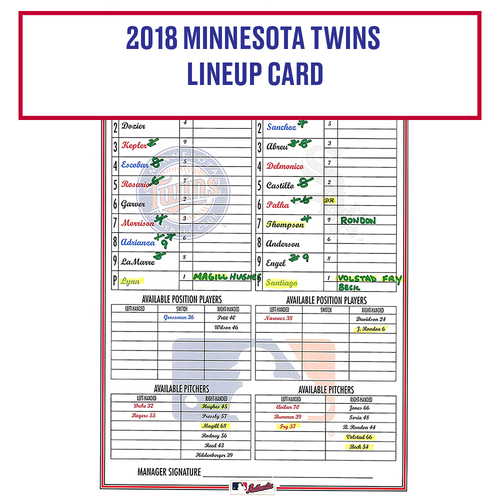 Photo of 2018 Minnesota Twins Game-Used Lineup Card - Choose your Game Date!