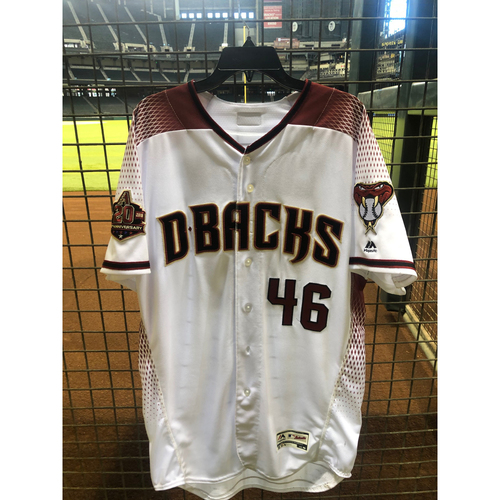 Photo of Patrick Corbin 2018 Team Issued Home Jersey with 20th Anniversary Sleeve Patch - Corbin went 11-7 with 246 K's in 2018