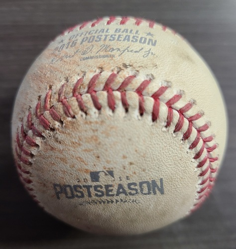Photo of Authenticated Game Used Postseason Baseball: Pitch in the Dirt by Marco Estrada against Carlos Santana (Oct 19, 2016 vs CLE: ALCS Game 5). Top 1.