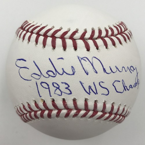"Photo of Eddie Murray ""1983 WS Champs"" Autographed Baseball"