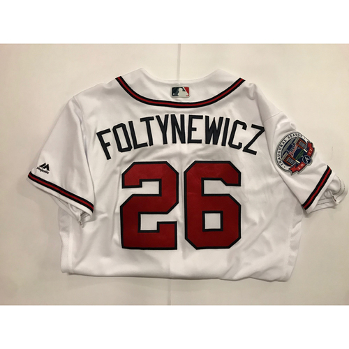 Photo of Mike Foltynewicz Game Used Los Bravos Jersey - September 17, 2017