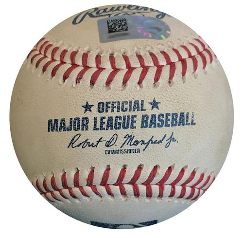 Photo of Game-Used Baseball from Pirates vs. Cubs on 8/1/18 - Kyle Schwarber Single