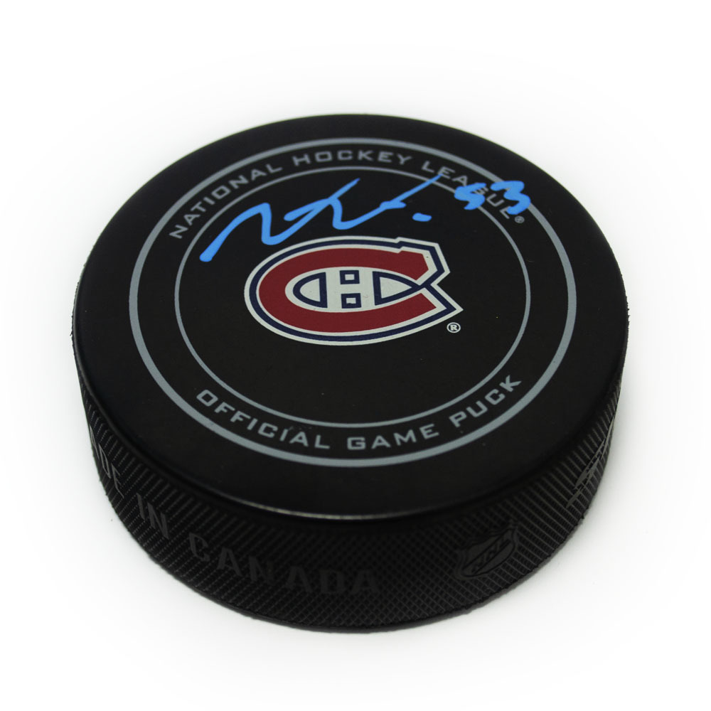 Victor Mete Montreal Canadiens Autographed Game Model Hockey Puck