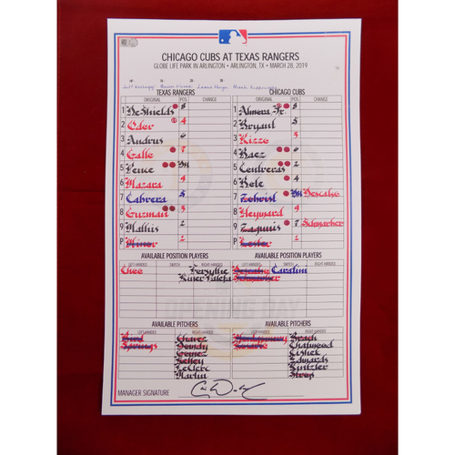 Photo of Replica Texas Rangers Opening Day 2019 Line-Up Card - 3/28/19