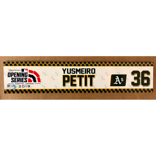 Photo of 2019 Japan Opening Day Series - Game Used Locker Tag - Yusmeiro Petit -  Oakland Athletics