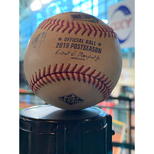 Photo of Houston Astros Game-Used Baseball: Pitcher: Brendan McKay, Batter: Alex Bregman - Double - Bot 5 - ALDS Game 1, 10/4/19 vs. TB