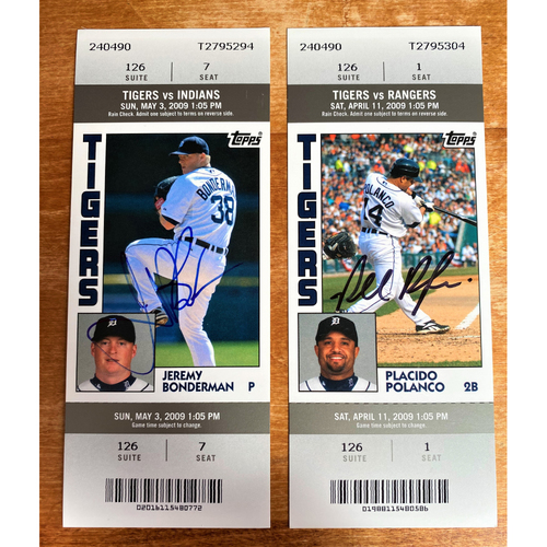 Photo of Jeremy Bonderman and Placido Polanco Autographed Detroit Tigers 2009 Suite Ticket Collection (NOT MLB AUTHENTICATED)