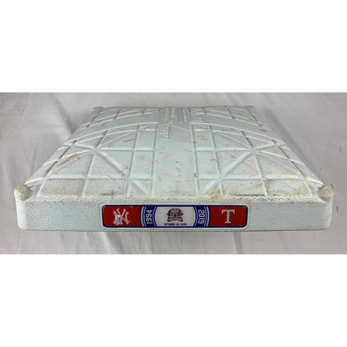 Photo of Game-Used First Base - 9/29/2019 - Yankees at Rangers - Final Game Ever at Globe Life Park