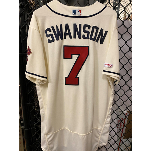 Photo of Dansby Swanson Game Used Home Ivory Jersey - Worn 4/28/19 and 6/2/19 - Home Run (6/2)