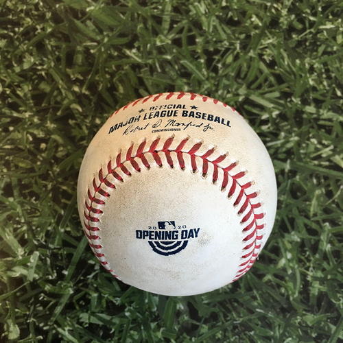 Photo of Game-Used Home Opener Baseball CHW@MIL 08/03/20 - Brett Anderson - Jose Abreu: Single (White Sox Challenged Call at 1st, Call on Field Overturned)