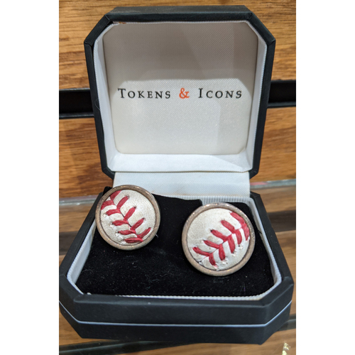 Photo of Tokens & Icons Game Used Baseball Cufflinks