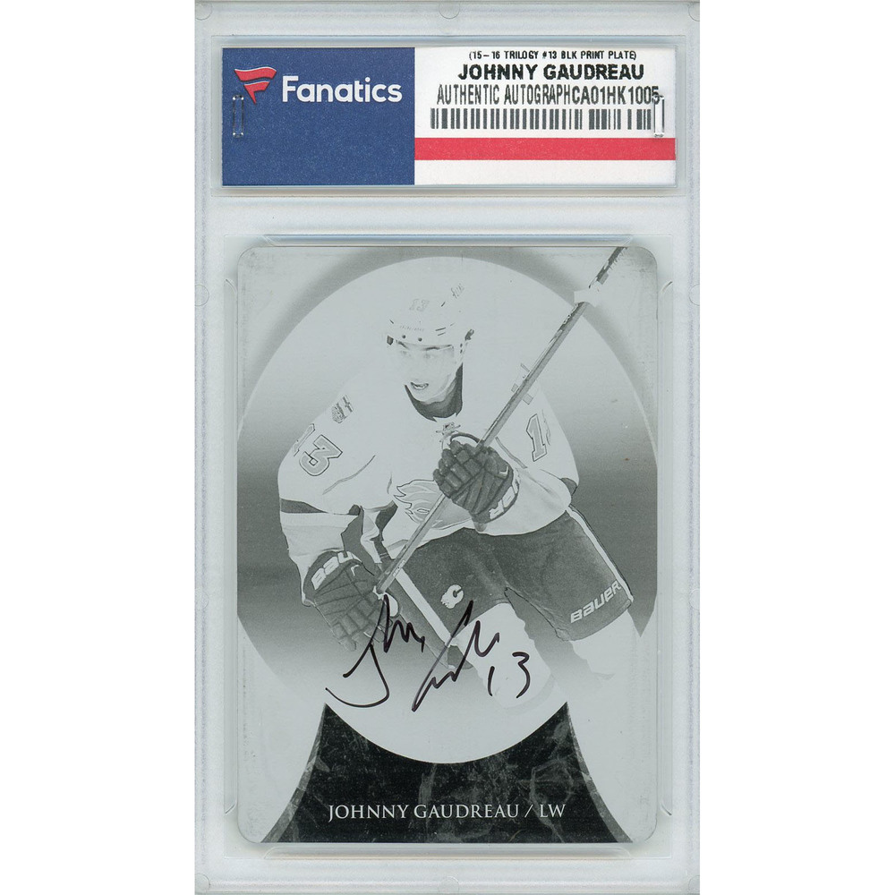 Johnny Gaudreau Calgary Flames Autographed 2015-16 Upper Deck Trilogy #13 Black Printing Plate Card - LE of 1