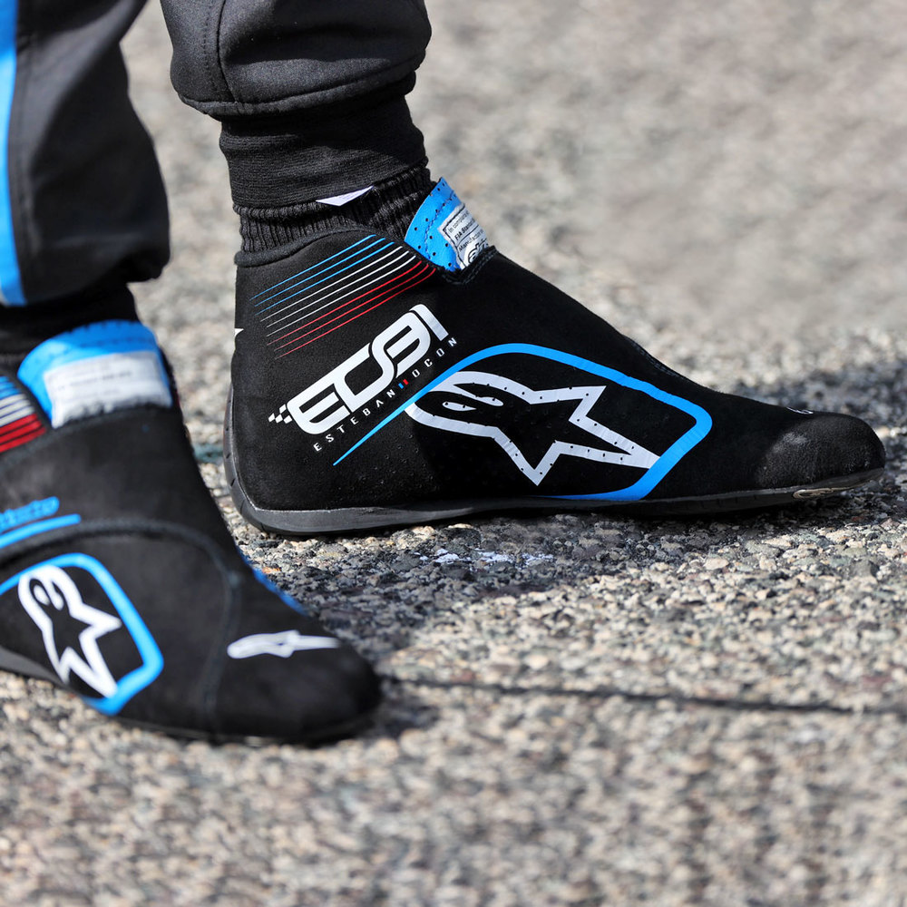 Esteban Ocon 2021 Framed Signed Race-worn Boots - Spanish GP
