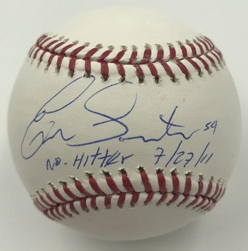 """Photo of Ervin Santana """"No Hitter 7/27/11"""" Autographed Baseball"""