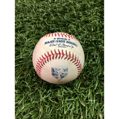 Photo of 20th Anniversary Game-Used Baseball: Albert Pujols single and David Fletcher foul ball off Sergio Romo - July 31, 2018 v LAA
