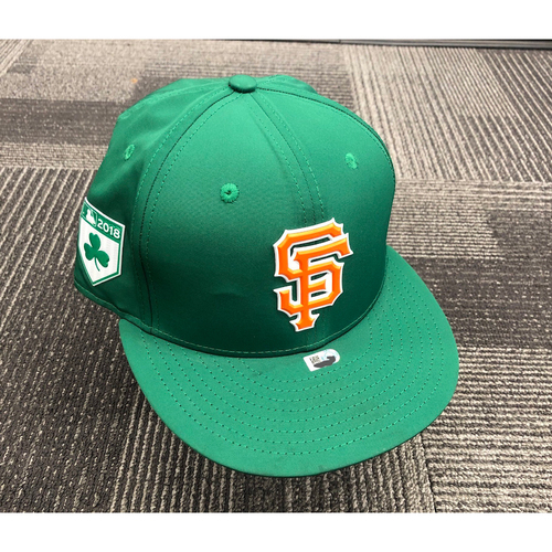 Photo of 2018 Game-Used St. Patrick's Day Cap worn by #10 Evan Longoria on 3/17 vs. Oakland Athletics - Size 7