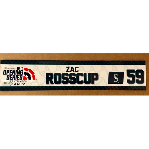 Photo of 2019 Japan Opening Day Series - Game Used Locker Tag - Zac Rosscup -  Seattle Mariners