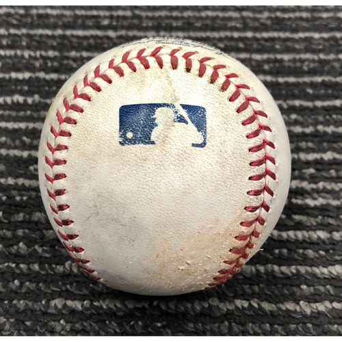 2019 Game Used Baseball used on 4/28 vs. NYY - T-9: Will Smith to Mike Tauchman - Single to LF. Also Cameron Maybin RBI Single to CF (Gleyber Torres Scores)