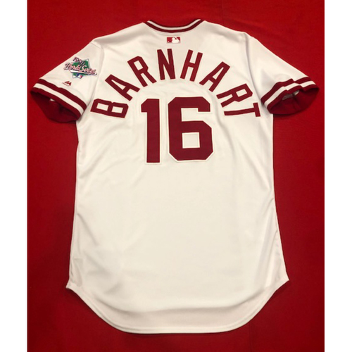 Photo of Tucker Barnhart -- Game-Used 1990 Throwback Jersey (Pinch-Hitter: Went 1-for-2, 2 RBI) -- Cardinals vs. Reds on Aug. 18, 2019 -- Jersey Size 46