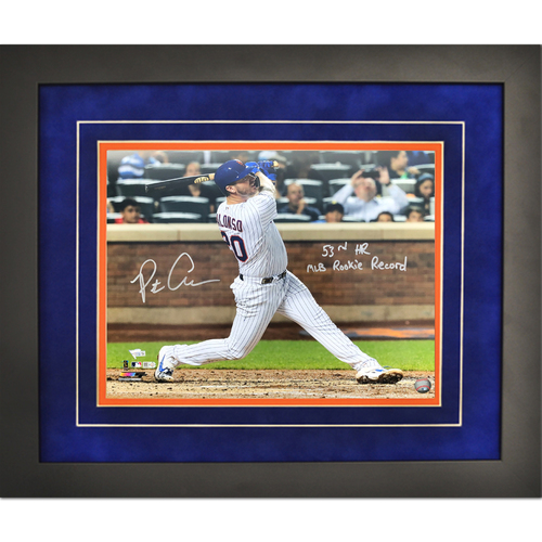 "Photo of Pete Alonso - Autographed 16x20 Framed Photo - Inscribed ""53rd HR, MLB Rookie Record"""