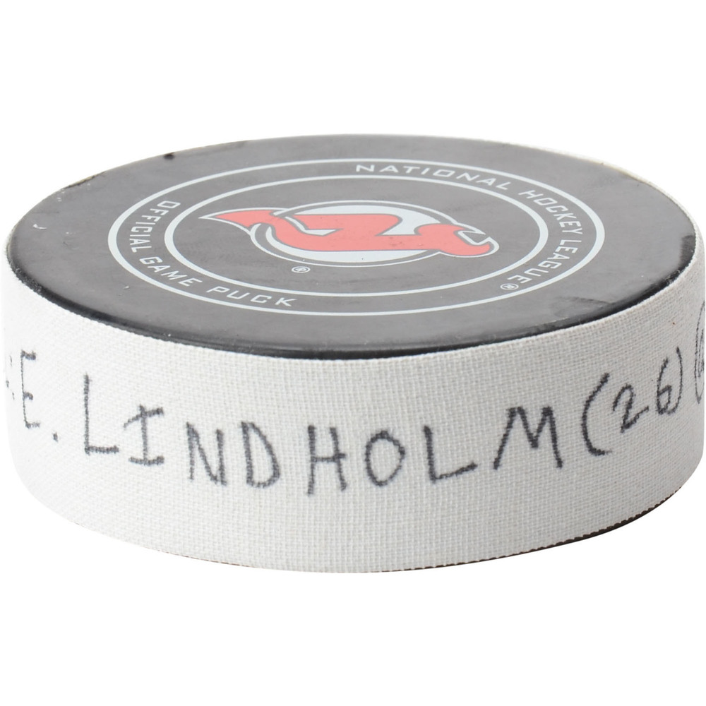 Elias Lindholm Calgary Flames Game-Used Goal Puck from February 27, 2019 @ New Jersey Devils